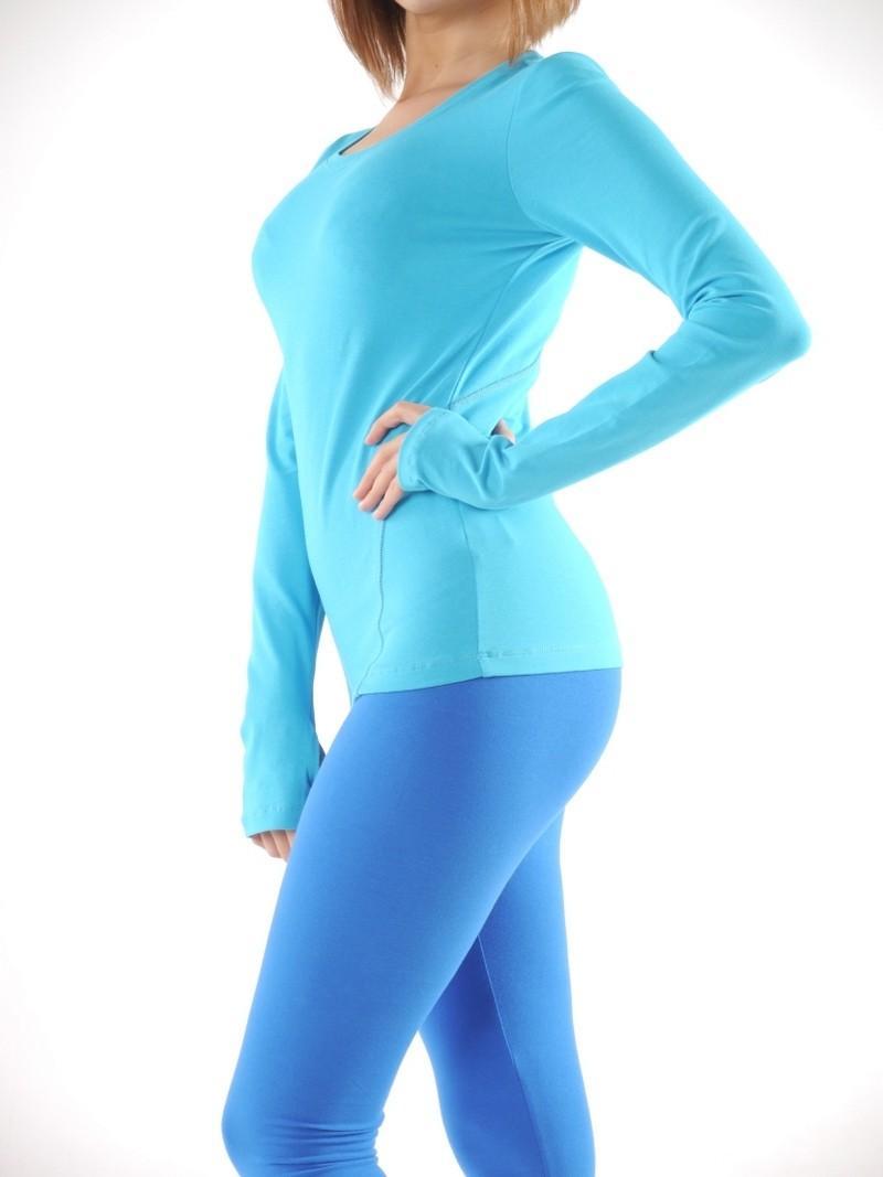Фото 4 Футболка с длинным рукавом для йоги Ролли голубая