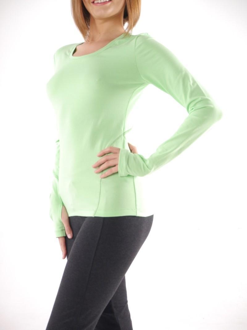 Фото 4 Футболка с длинным рукавом для йоги Ролли зелёная