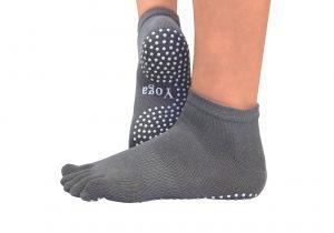 Носки из хлопка серые для йоги