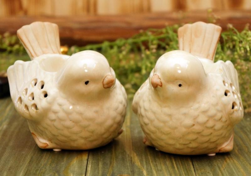 Фото Керамическая аромалампа двойная 2 птички, 11,5х10х9,5см