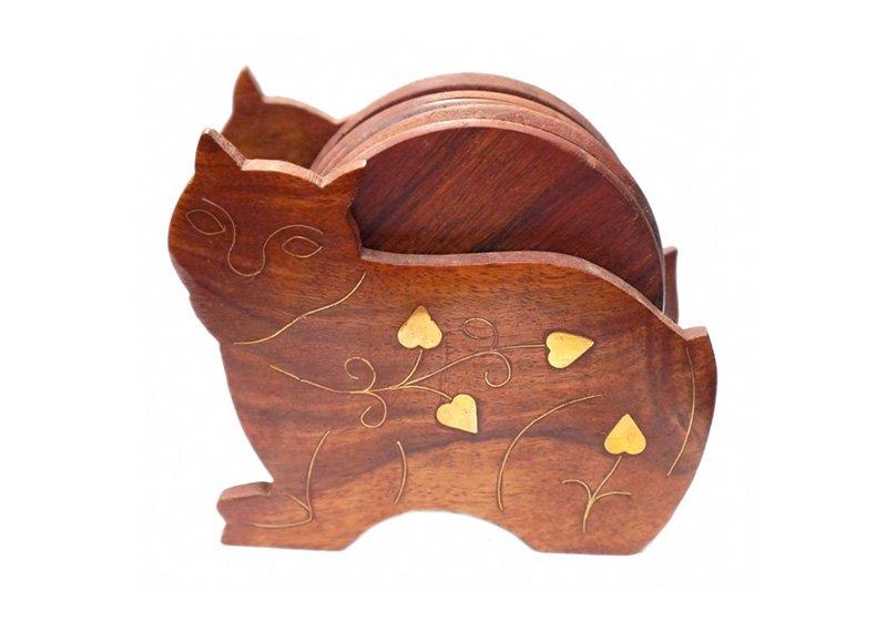 Фото Деревянная подставка под горячее Кот, набор