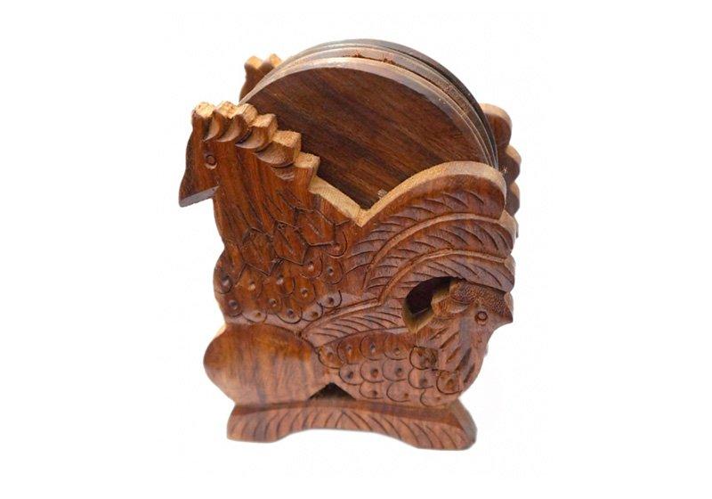 Фото Деревянная подставка под горячее Петух, набор