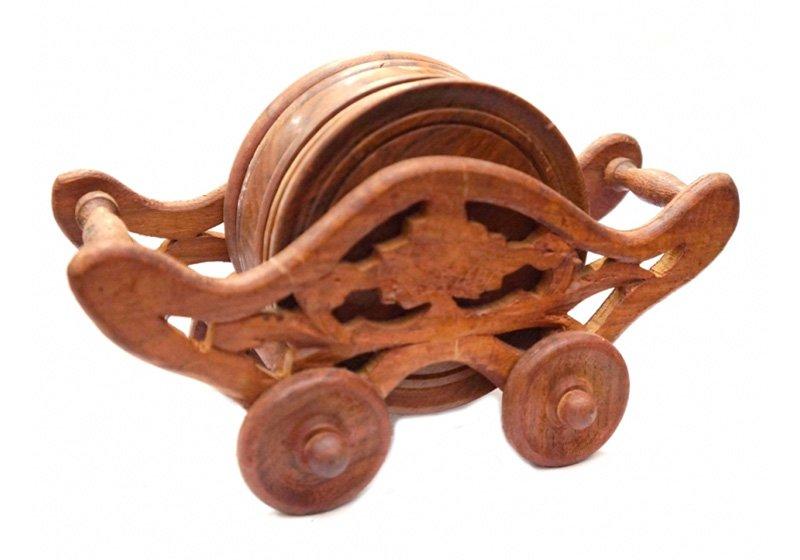 Фото Деревянная подставка под горячее Повозка, набор