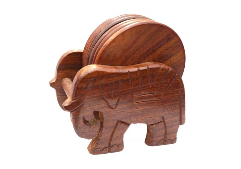 Фото Деревянная подставка под горячее Слон, набор