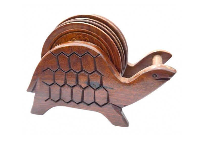 Фото Деревянная подставка под горячее Черепаха, набор