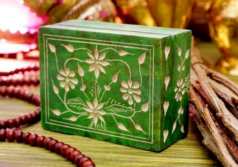 Фото 1 Каменная шкатулка для украшений Цветы