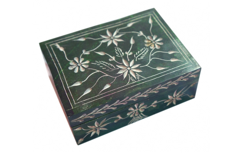 Фото Каменная шкатулка для украшений Цветы