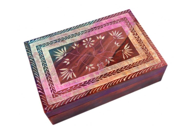 Фото Каменная шкатулка для украшений Розовая
