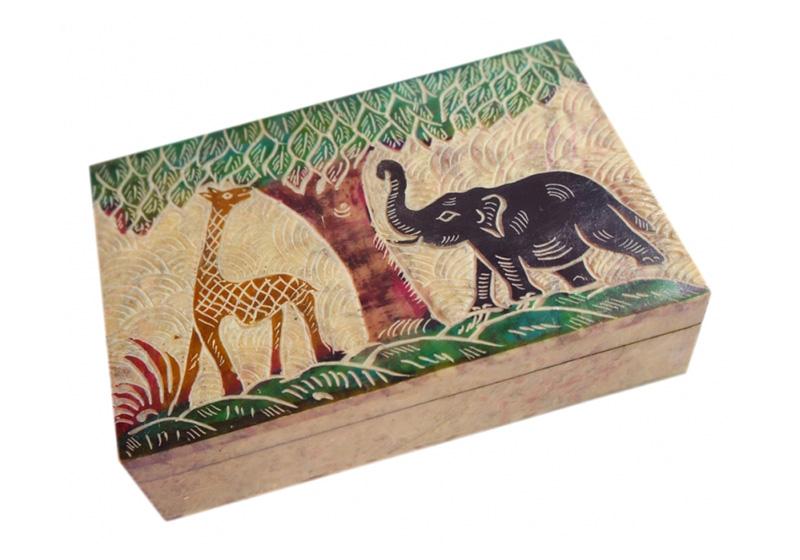 Фото Каменная шкатулка для украшений Жираф