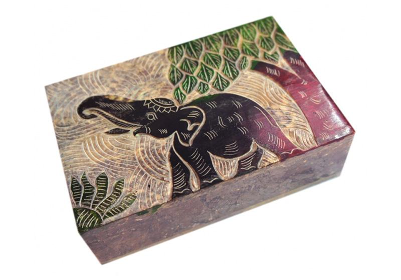 Фото Каменная шкатулка Слон под деревом