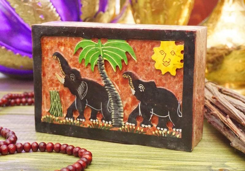 Фото 1 Каменная шкатулка для украшений Слоны