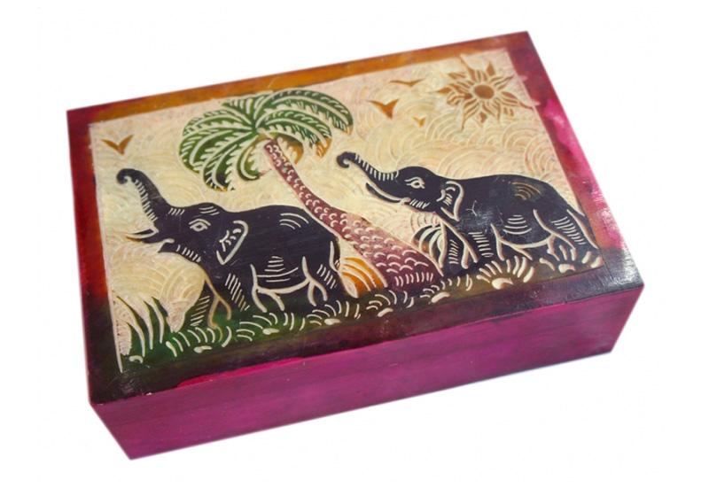 Фото Каменная шкатулка для украшений Слоны