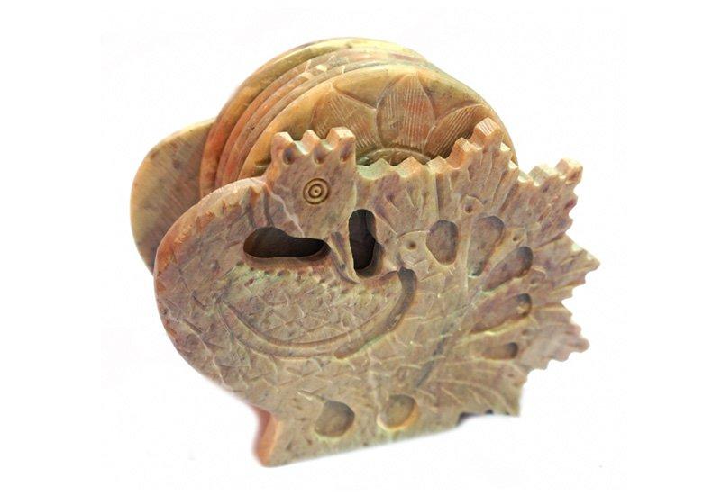 Фото Каменная подставка под горячее Павлин, набор