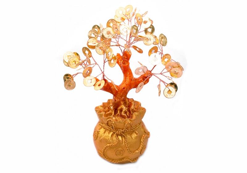 Фото Дерево денежное с золотыми монетами 14см