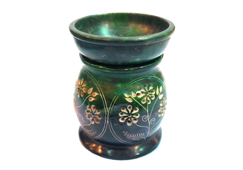 Фото Аромалампа каменная круглая 11х9х9 см Зелёная