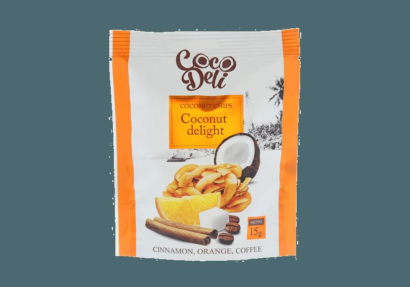 Фото Чипсы кокосовые со вкусом апельсина, корицы и кофе 15 г