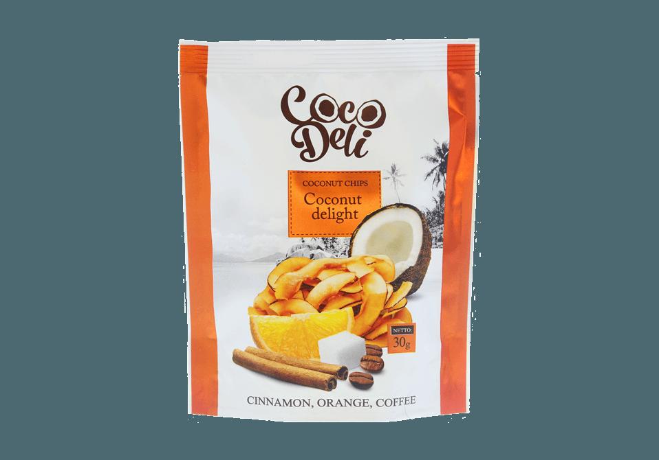 Фото Кокосовые чипсы апельсиново–кофейные с корицей 30 г