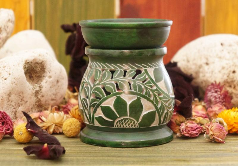 Фото Аромалампа каменная круглая 10*8*8 см Цветок