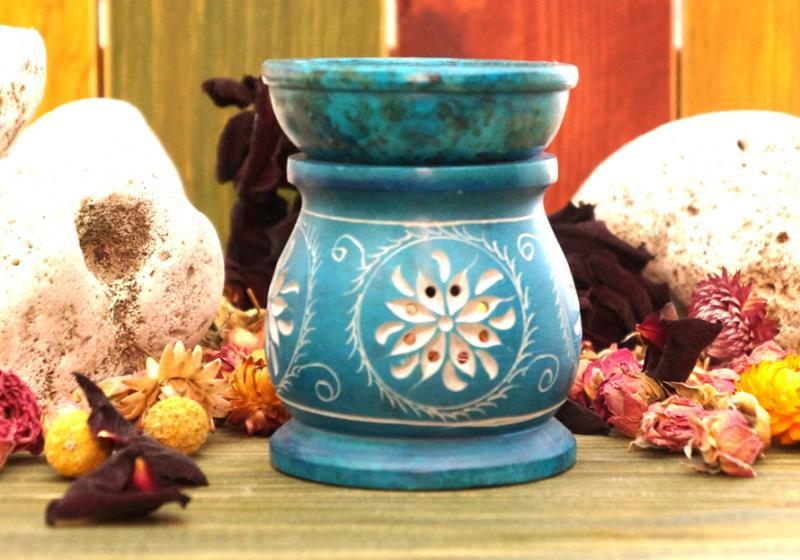 Фото Аромалампа каменная круглая 10*8*8 см Голубая