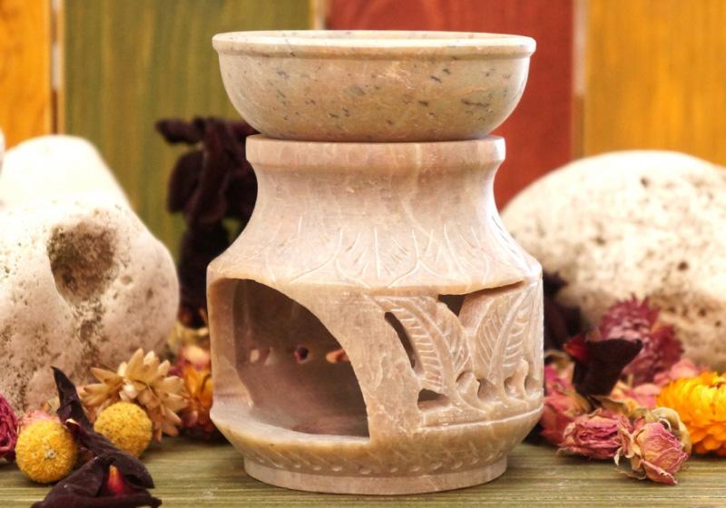Фото Аромалампа каменная круглая 11*9*9 см — натуральный камень