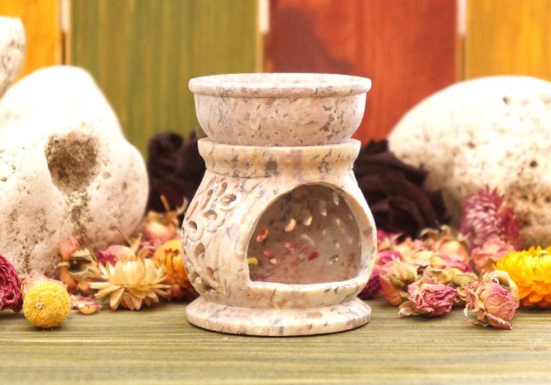 Фото Аромалампа каменная круглая 8*6,5*6,5 см — съемная чаша