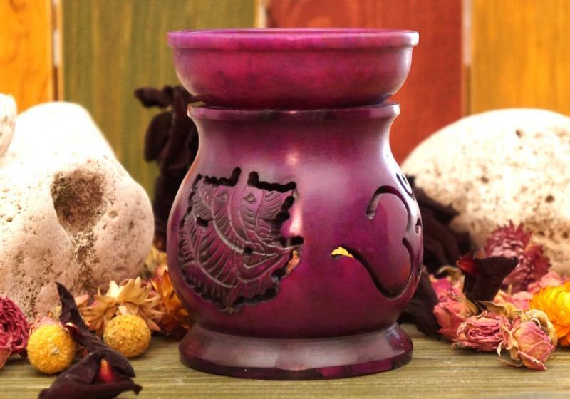 Фото Аромалампа каменная круглая со съемной чашей 11*9*9 см