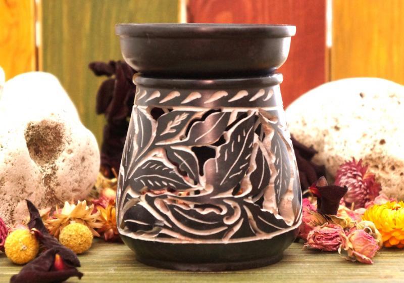 Фото Каменная круглая аромалампа 11*9*9 см Листья