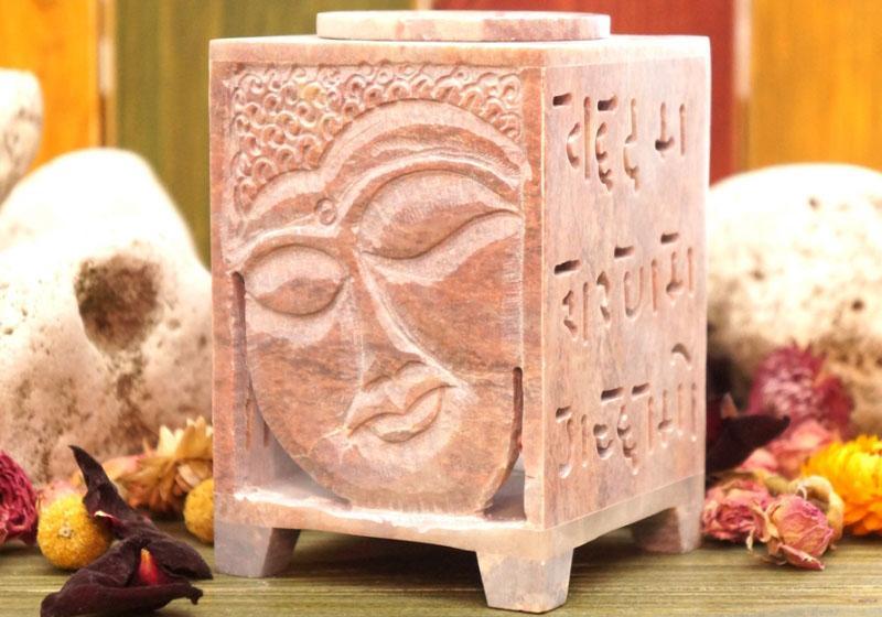 Фото Аромалампа каменная квадратная 12*8*8 см Будда