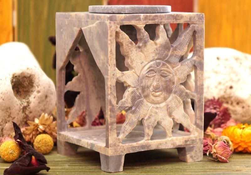 Фото Аромалампа каменная квадратная 12х8х8 см Солнце
