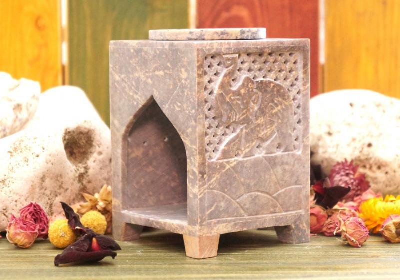 Фото Каменная квадратная аромалампа 12*8*8 см Слон
