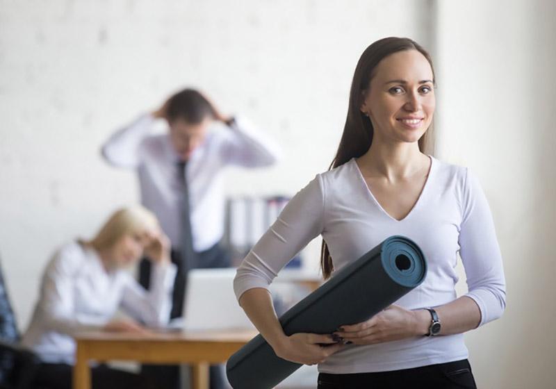 office woman yoga mat