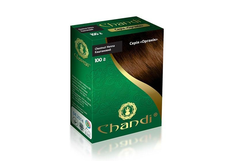 Фото Краска для волос на основе хны Chandi Органик каштановая 100 г