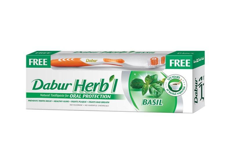 Фото Зубная паста Базилик Dabur Herb'l 150 г + щетка
