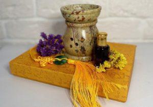 Аромалампа из натурального камня коричнево-бежевая Индия