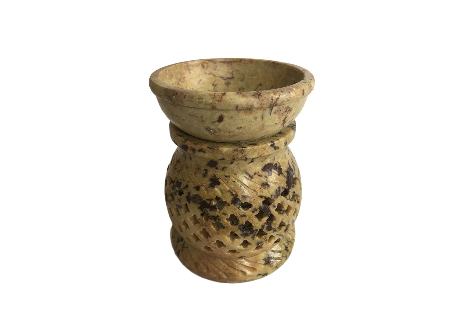 Фото Аромалампа каменная круглая 10*7,5*7,5 см Индия (арт.501-12)