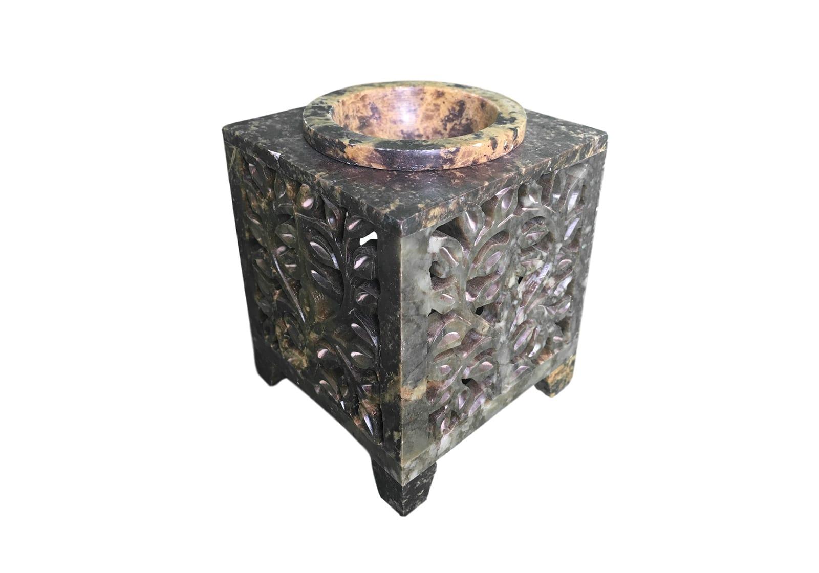 Фото Аромалампа каменная квадратная 9*7,5*7,5 см Индия (арт.514)