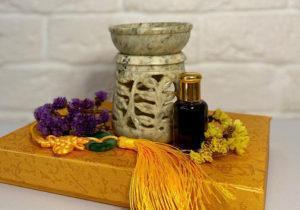 Аромалампа ручной работы из Индии с листьями