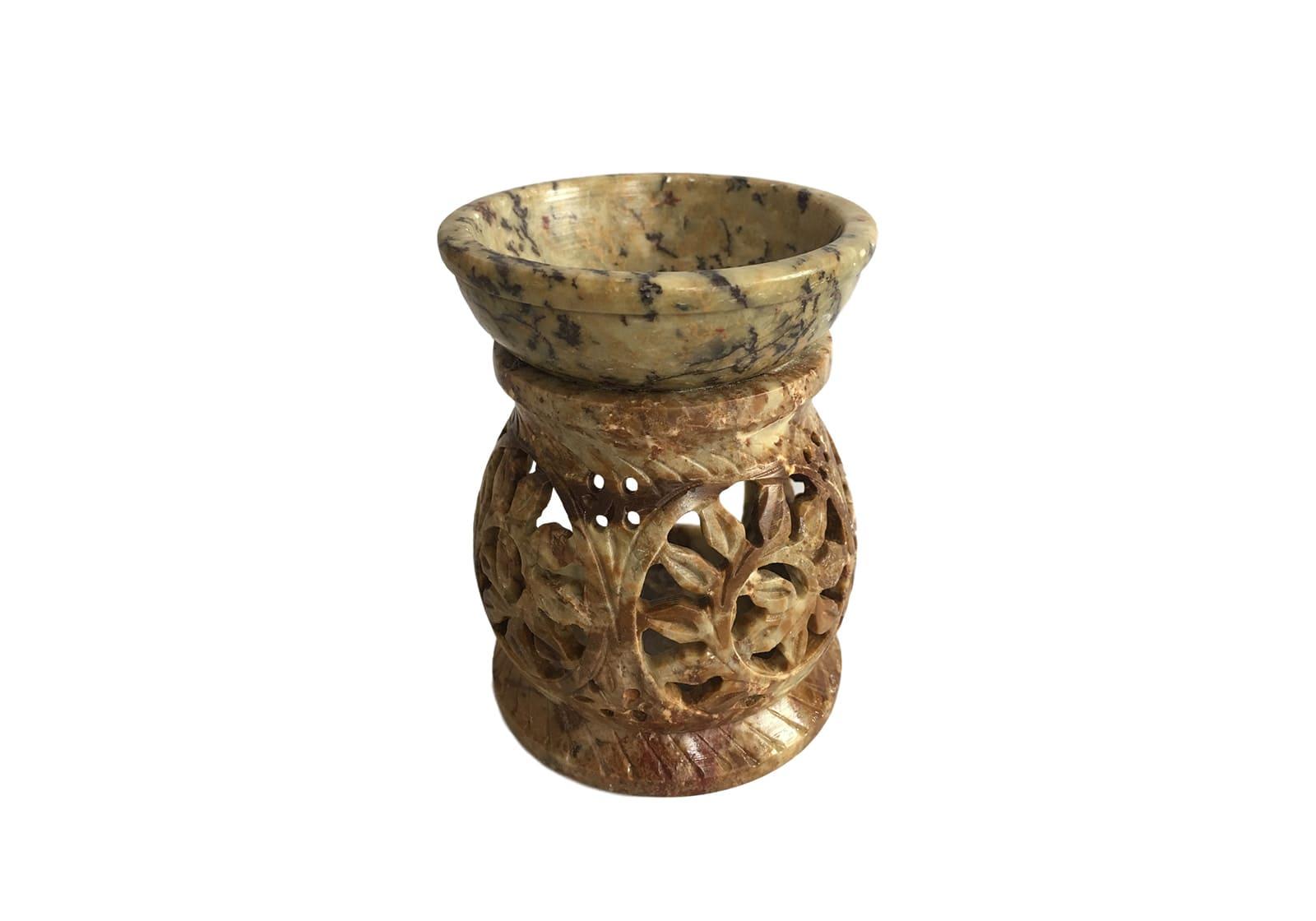 Фото Аромалампа каменная круглая со спиралями 9,5*7,5*7 см Индия (арт.518)