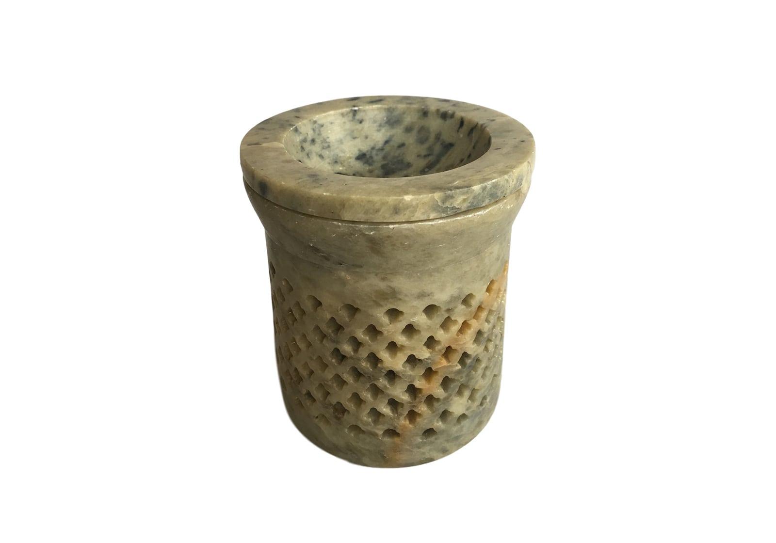 Фото Аромалампа каменная в ромбики 8,5*7*7,5 см Индия (арт.527)