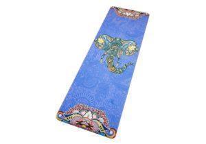 Йога-коврик с рисунком Слон на синем фоне